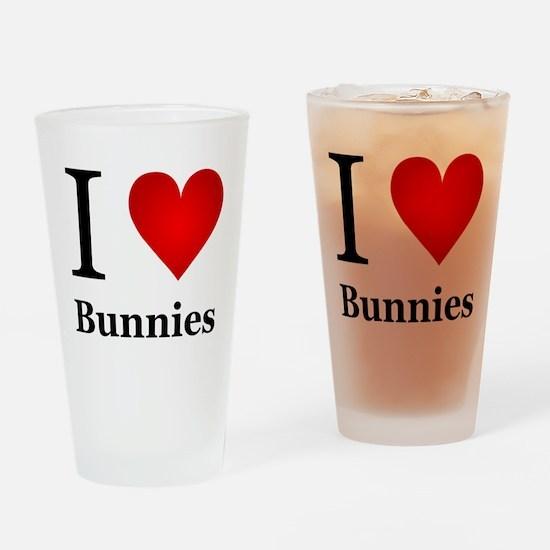I Love Bunnies Drinking Glass