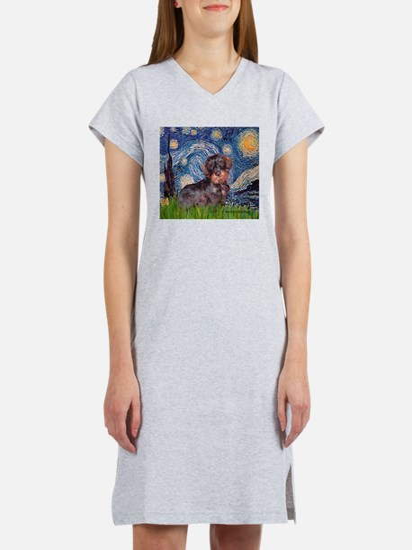 Starry Night Dachshund (Wire) Women's Nightshirt
