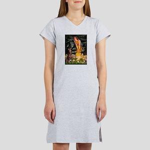 Fairies & Red Doberman Women's Nightshirt