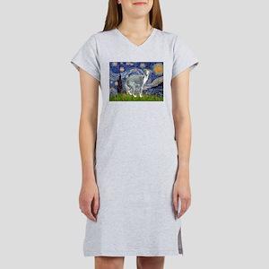 Starry Night/Italian Greyhoun Women's Nightshirt