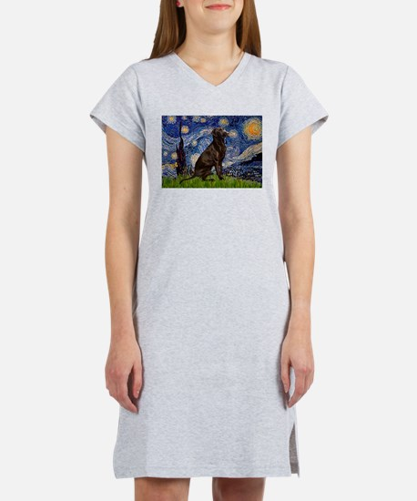 Starry Chocolate Lab Women's Nightshirt