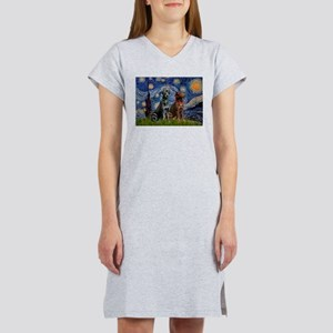 Starry / 2 Labradors (Blk+C) Women's Nightshirt