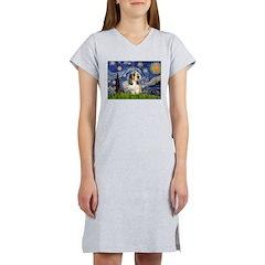 Starry Night / PBGV Women's Nightshirt