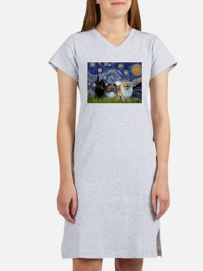 Starry/3 Pomeranians Women's Nightshirt