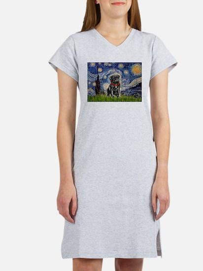 Starry Night / Black Pug Women's Nightshirt