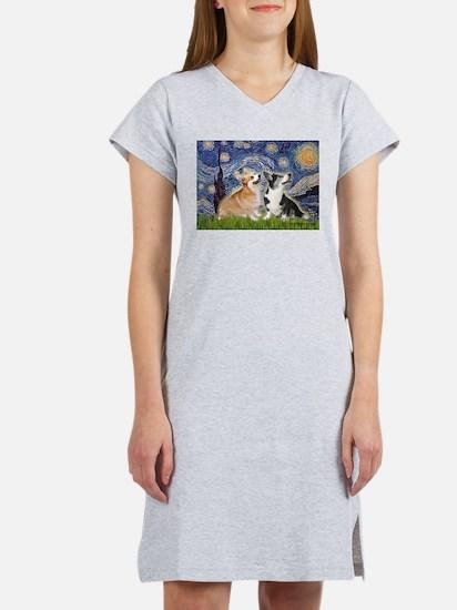 Starry Night / Corgi pair Women's Nightshirt