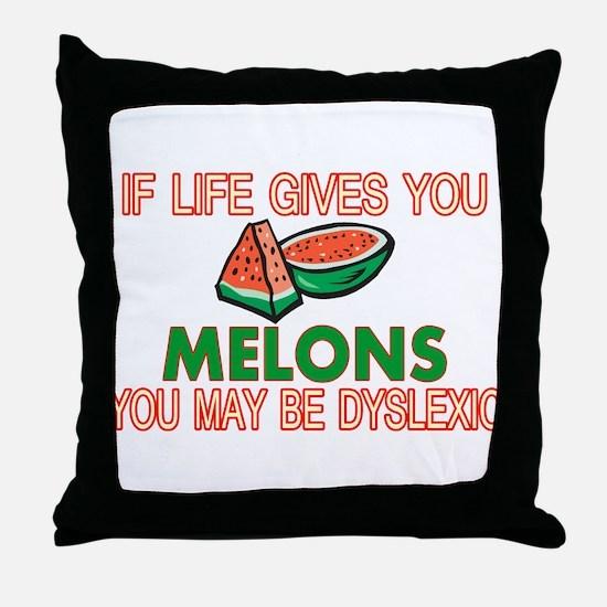 Dyslexic Melons Throw Pillow