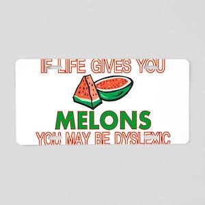 Dyslexic Melons Aluminum License Plate