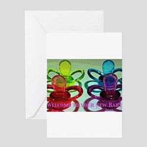 Coloured Pacifiers Greeting Card