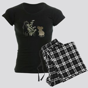 Cute Mouse and lily of the va Women's Dark Pajamas