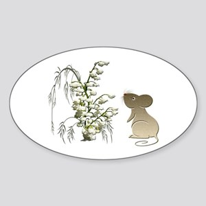 Cute Mouse and lily of the va Sticker (Oval)