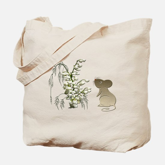 Cute Mouse and lily of the va Tote Bag