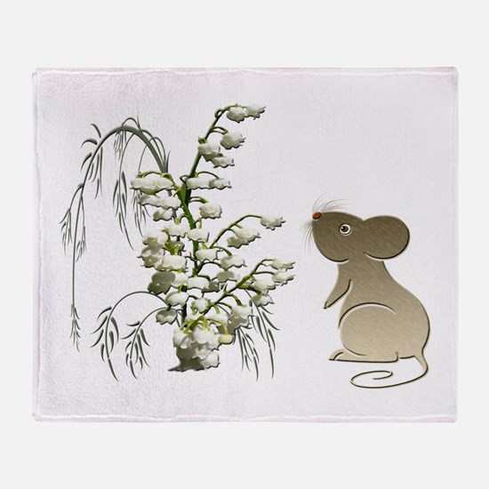 Cute Mouse and lily of the va Throw Blanket