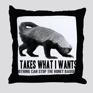 Honey Badger Speaks Throw Pillow