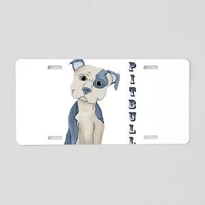 Blue Pitbull Aluminum License Plate