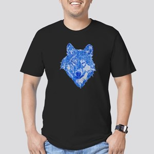 Vintage Blue Wolf head 2 Men's Fitted T-Shirt (dar