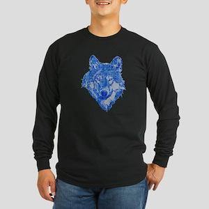 Vintage Blue Wolf head 2 Long Sleeve Dark T-Shirt