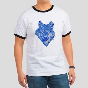 Vintage Blue Wolf head 2 Ringer T