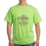 Catholic I Vote Green T-Shirt