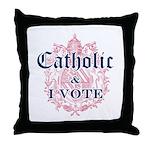 Catholic I Vote Throw Pillow