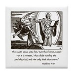 Jesus Temptation Satan Tile Coaster