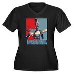 Robo Hope Women's Plus Size V-Neck Dark T-Shirt