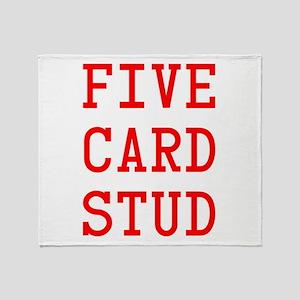 Five Card Stud Red Throw Blanket