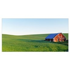 Red Barn in Wheat Field WA Poster