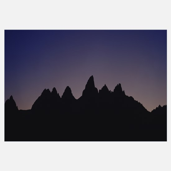 Silhouette of mountain peaks at dusk, Grand Teton