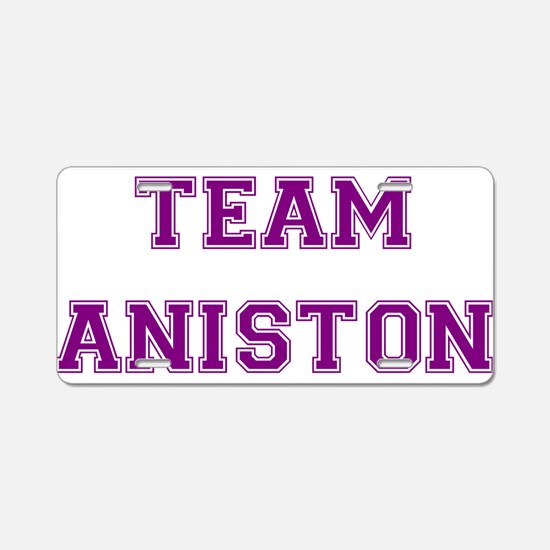 Team Aniston Purple Aluminum License Plate