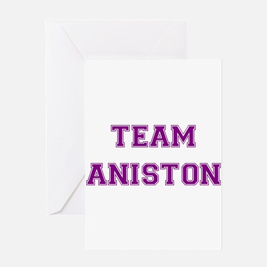 Team Aniston Purple Greeting Card