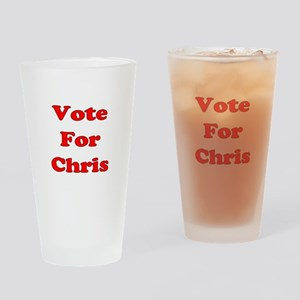 Vote For Chris (Red) Drinking Glass