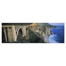 Bridge across two cliffs, Bixby Bridge, Big Sur, C Poster