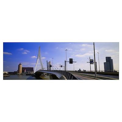 Bridge across the river, Erasmus Bridge, Rotterdam Poster