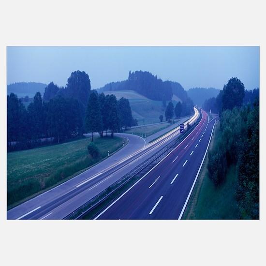 Busy Highway in Fog near Adelzhausen Germany