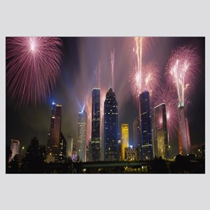 Fireworks over buildings in a city, Houston, Texas