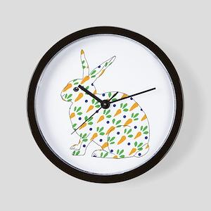 Carrot Calico Rabbit Wall Clock
