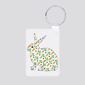 Carrot Calico Rabbit Aluminum Photo Keychain