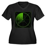 Radar1 Women's Plus Size V-Neck Dark T-Shirt