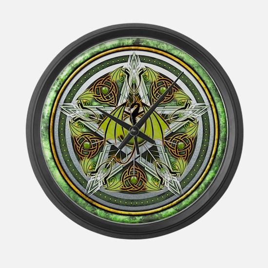 Celtic Earth Dragon Pentacle Large Wall Clock