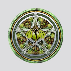Celtic Earth Dragon Pentacle Ornament (Round)