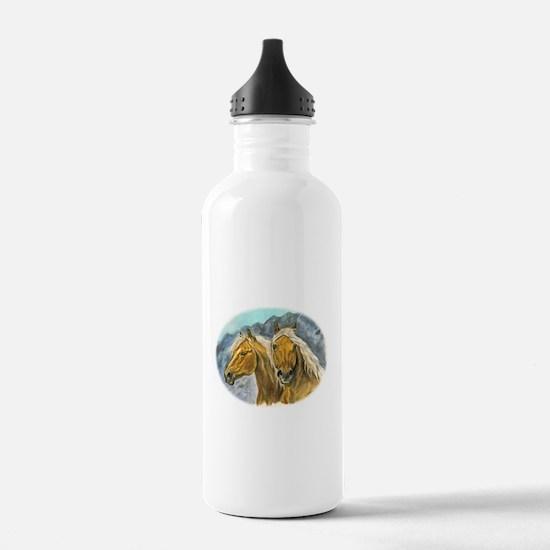 Painting of Haflinger horses Water Bottle