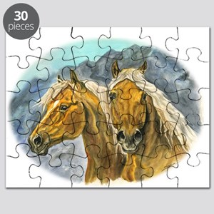 Painting of Haflinger horses Puzzle