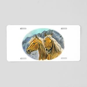 Painting of Haflinger horses Aluminum License Plat