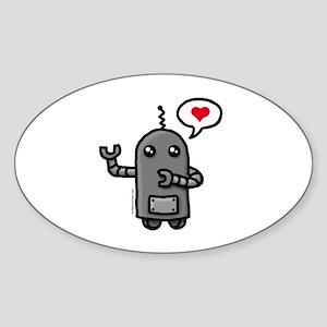 Cute love robot Sticker (Oval)