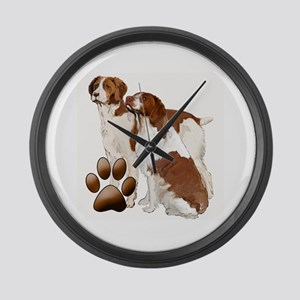 two brittaany spaniels Large Wall Clock