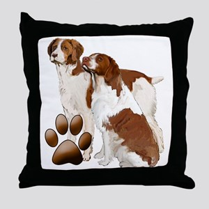 two brittaany spaniels Throw Pillow