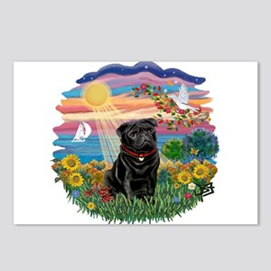 Autumn Sun-Black Pug #17 Postcards (Package of 8)