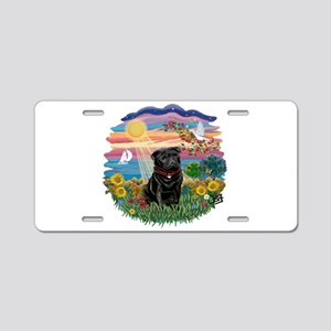 Autumn Sun-Black Pug #17 Aluminum License Plate