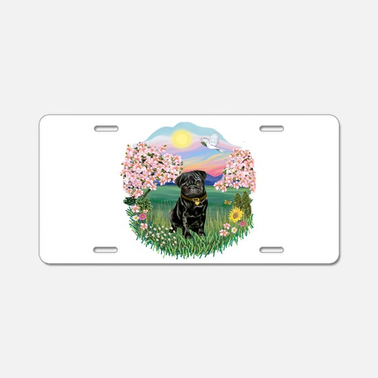 Blossoms-Black Pug Aluminum License Plate